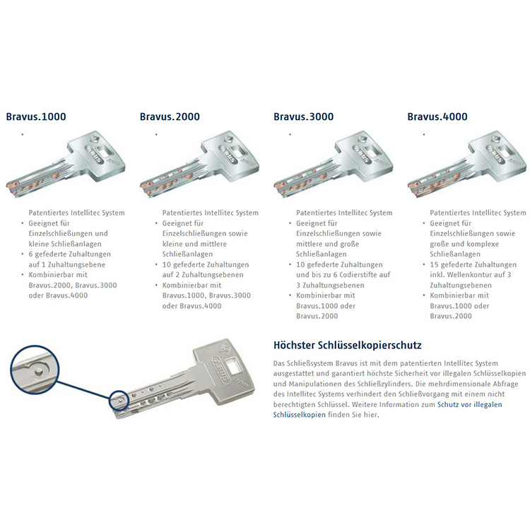 ABUS Bravus1000 Sicherheits-Schließzylinder Knaufzylinder Z45//K40mm Individual